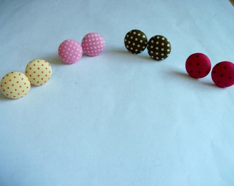 Polka dot fabric stud earrings