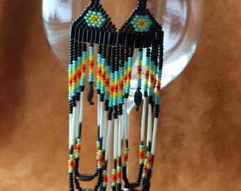 Rainbow Magic Porcupine Quill Native Inspired Beaded Earrings