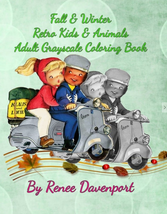 PDF of Fall & Winter Retro Kids and Animals Adult Grayscale Coloring Book--31 Coloring Pages