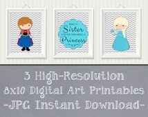 SALE 25% OFF Frozen Wall Art, Frozen Sister Posters, Bedroom Prints Nursery Gray Frozen Digital Art Printables - 8x10 JPG Digital Prints