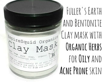 Clay Facial Mask - Fuller's Earth Clay Mask - Multani Mitti Clay - Oily Acne Skin - Acne Mask - Acne Face Mask - Acne Treatment