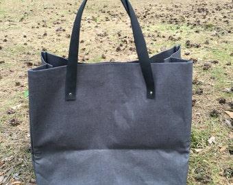 Linen tote bag, Linen beach bag, Waxed linen shopping bag, Large tote, Linen shoulder bag, Linen market bag, Large natural linen tote bag