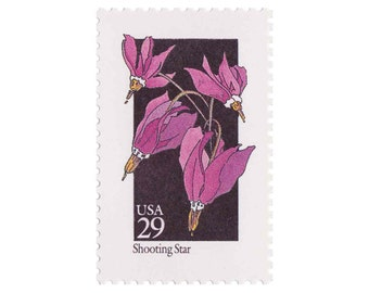 5 Unused Vintage Postage Stamps - 1992 29c Wildflower Series - Shooting Star - Item No. 2654