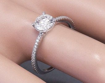 14k white gold round cut simulated diamond engagement ring prong set 1.32ctw