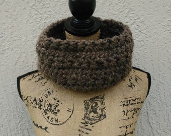 Barley Star Stitch Cowl, Brown Cowl, Chunky Brown Cowl, Super Bulky Brown Cowl, Star Stitch Cowl, Winter Cowl, Gift Under 20