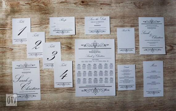 Black Tie - Elegant - WEDDING - FULL Package - Black - White -Calligraphy - Personalised - Printable - PDF - Digital