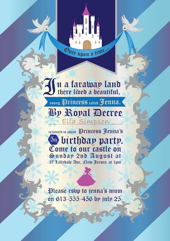 PRINCESS - PERSONALIZED - Children - Birthday - Party - Ice Queen - Blue - Grey - Invitation - Baby - Girls - PRINTABLE - Pdf - Digital