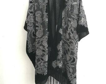 Kimono Gray black Hippie Boho Gypsy Kimono velvet jacket boho devore burnout black and grey Velvet Kimono - flower Design Gifts for Her
