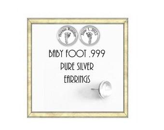 Custom baby foot/hand Earrings - .999 Silver Earrings