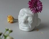 Modern planter, Desk sculpture, Pottery vase, Face planter, Small ceramic pot, Head vase, Grandpa gift, Porcelain vase, SCULPTUREinDESIGN