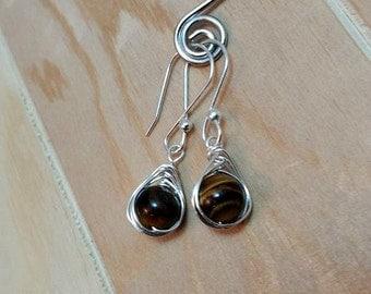Silver herringbone tigers eye earrings-tigers eye earrings-tigers eye jewelry-tigers eye dangle earrings= sterling silver earrings