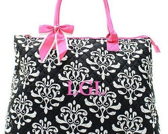 Monogrammed Tote  Black and Pink Bloom Quilted Tote  Monogrammed Tote Bag
