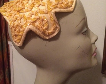 Yellow Sequined Ribbon Fascinator Hat