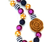 Chunky Necklace-Mustard Navy Hot Pink-Yellow Navy Pink-Bubblegum Necklace-Gifts for Girls-Girl's Beaded Necklace-Stocking Stuffers-Necklace