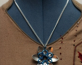 Blue and Silver Scalemaille Flower Necklace