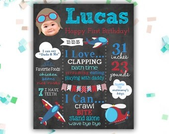 Airplane Birthday Chalkboard  Sign, Printable First Birthday Chalkboard, Aviator, Gift, Keepsake, Any Age, Aviation, Digital File