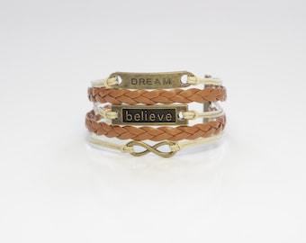 Dream Believe Infinity Light Brown Tan Cord Bracelet
