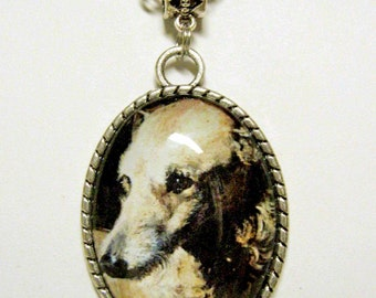 Deerhound by Edwin Henry Landseer pendant with chain - DAP09-019