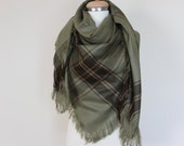 Light Green Blanket Scarf, Green Plaid Scarf Traditional Shawl, Women's Oversize Square Winter Shawl, Green Fashion Accessory, Gift for Her