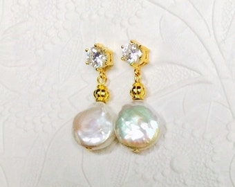 Bridal Pearl Earrings,Luminous Natural White Coin Pearls,Finely Detailed Gold Plate,Prong Set Cubic Zirconia,Wedding Jewelry,Christmas Gift