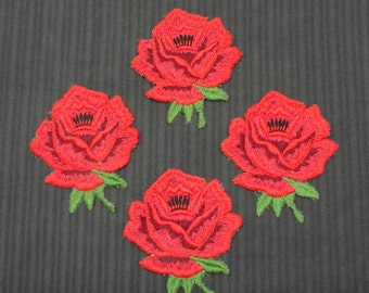 Four (4) Large Red Rose Appliques