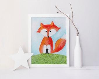 DIGITAL Print kids art FOX - Instand download - Fox painting