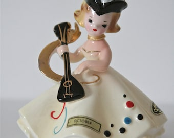 1950s Josef Originals October Birthday Masquerade Ball, Pale Yellow Dress, Tricorn Hat, Playing a Lute, Halloween Birthday Gift, Collectible