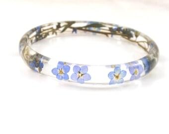 Resin Bangle Bracelet Forget-me-not, Real Flower Resin Bracelet, Forget-me-not  Bracelet, Real Plant Bracelet, Blue Bracelet
