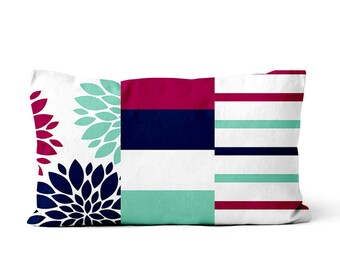 "Throw Pillow 12""x20"" Rectangle Pillow Fuchsia Lucite Green White Navy Lumbar Pillow"