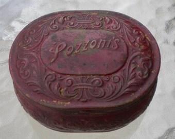 Vintage Antique Pozzoni's Brass Powder Box/shabby chic box/chippy paint box/antique powder box/Pozzonis