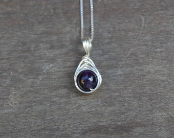Amethyst 8mm Drop Wire Wrapped Pendant (Free shipping in Canada!)