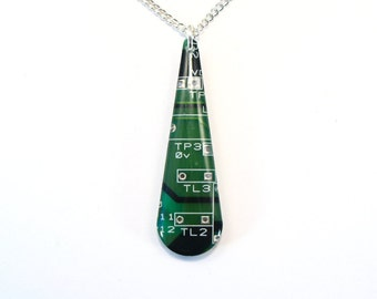 Recycled Silver & Green Circuit Board Pendant - Geek Necklace - Computer Pendant - 45mm x 15mm