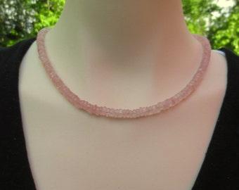 Rose Quartz Beaded Necklace, Pale Pink Quartz Necklace, Pink Quartz Jewelry , Love Stone , Gift for Her