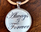 "ALWAYS & FOREVER Hand-Crafted 30mm Sterling Silver Plated Newlywed Jewelry; Choose 18"" Necklace or Elegant Key Ring, Gift Box Option"