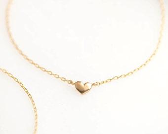 14k Gold Heart Bracelet, tiny heart chain bracelet, valentines day gift, mothers day gift, 14k rose, yellow, white gold, hea-b101
