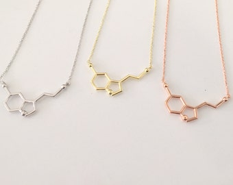 Rose Gold Serotonin Molecule Necklace ~ 14K Gold Pendant Serotonin Molecule Necklace ~ Chemistry Necklace ~ Birthday Gift ~ Christmas gift