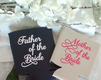 Mother of the Bride Gift, Father of the Bride Gift, Neoprene coolers, Custom Cozies, Collapsible Cozie