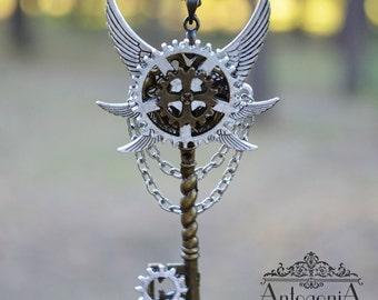 Steampunk Key Necklace Charms,Gears jewelry,Winged jewelry,Steampunk pendant,Skeleton key steampunk,Fantasy pendant,Winged pendant