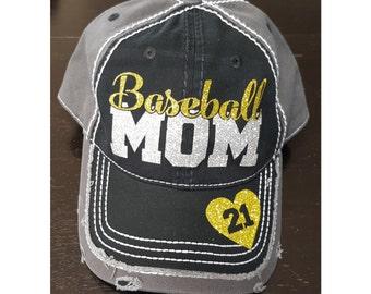 Glitter Baseball Mom Hat, Baseball Mom Distressed Hat, Mom Baseball Hat, Custom Baseball Hat, Personalized Baseball Mom Hat
