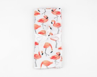 Flamingo Swaddle Blanket // Baby Shower Gift // Baby Girl Gift // Newborn Swaddle Blanket // Whimsical Flamingo Baby Blanket