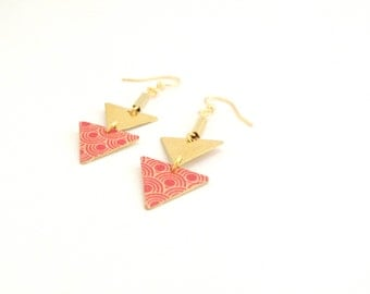 Retro look | Earrings Golden geometric two triangles - handmade