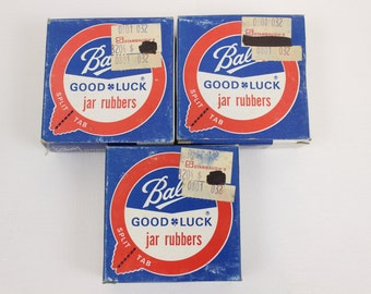 Ball Jar Rubbers, New Old Stock, 3 Boxes of 12, Rubber Canning Jar Rings, Ball Corporation, 1975