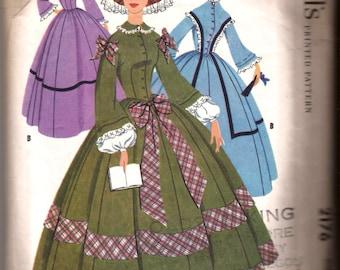 Vintage Misses Centennial Civil War Costume Dress Pattern / 1957 McCall's 2176 / Size 12