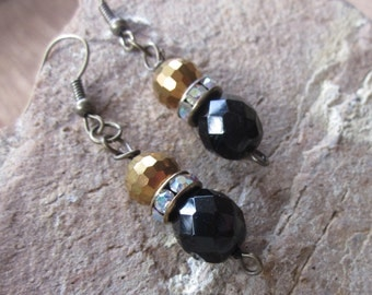 Boho earrings gold earrings black glass earrings beaded earrings bohemian earrings boho earrings Gameday earrings everyday earrings earrings