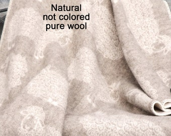 Baby blanket Scandinavian Pure New  wool throw Sheep 90x130cm Baby throw 35x51 inches,
