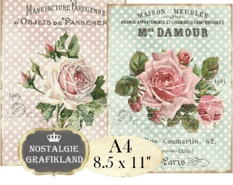 Shabby Chic Roses Victorian Roses Flowers Fleurs French Transfer Instant Download digital collage sheet A131
