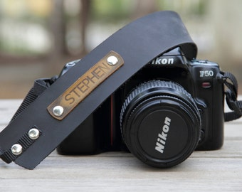 Personalized Leather Camera Strap,Leather Camera Strap,Gift for Photograph Lovers,Black Camera Strap