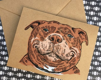 Pit Bull Greeting Card, Thank You, Get Well, Linocut, Handprinted Card, Handpulled