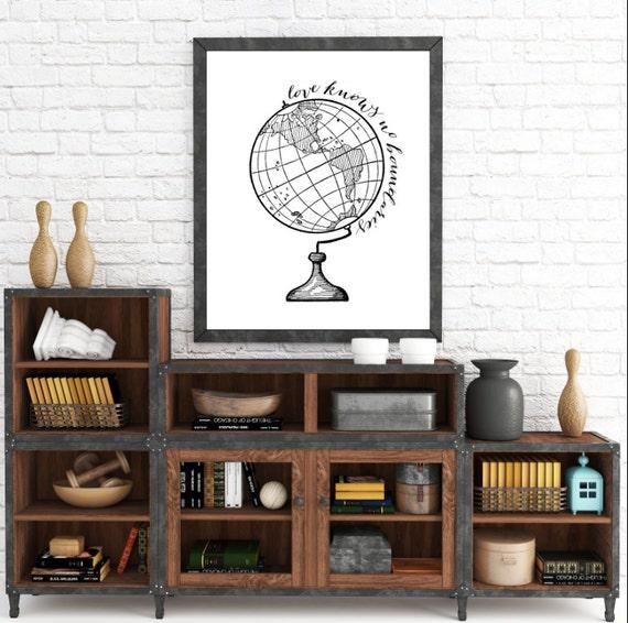 Adoption Art, Adoption Print, Love Knows No Boundaries, Adoption gifts, Globe Print, Modern Art, Printable Globe, Love Knows No Distance