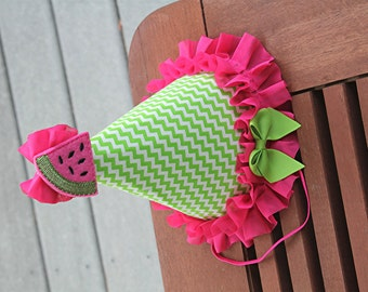 Watermelon Party Hat - First Birthday Hat - Cake Smash Hat - Cake Smash outfit - Girls First Birthday - photo prop